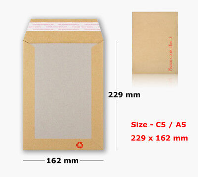 25 Hard Card Board Backed Please Do Not Bend Envelopes Manilla Brown - C5 / A5