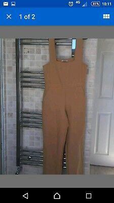 Vintage straight leg mustard yellow square neck  Petite Dungarees jumpsuit 10 8