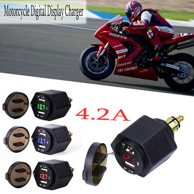 Motorcycle Dual USB Charger Adapter BMW Din Hella Plug LED Voltmeter Powerlet