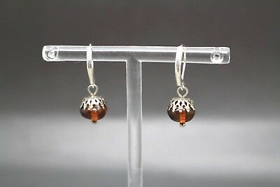 Unique Beautiful Genuine Baltic Amber Earrings Cognac English Style Clasps