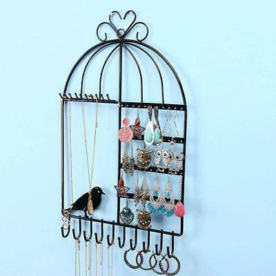 Wall Mount Jewelry Organizer Necklace Earring Holder Storage Rack Display Stand