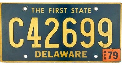 1968 Base Delaware License Plate #C42699 With 1979 Sticker RIVETED NUMBERS