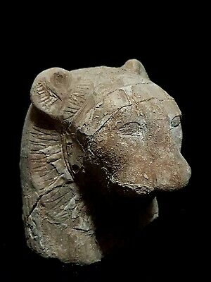Ancient Egyptian Rare Egypt Antique Head Of Sekhmet God Lion Goddess Stone Bc