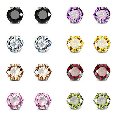 Stainless Steel Cubic Zirconia earrings, Round Square Hypoallergenic, 8-12 Pairs