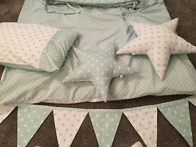 Mint Green And White Star Cot Bedding