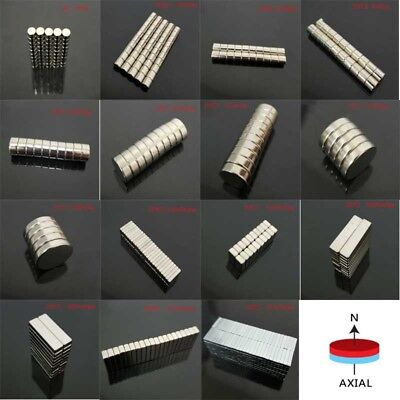 5-50Pcs Neodymium Block/Round Magnet Super Strong Magnets N35/N50 All Sizes