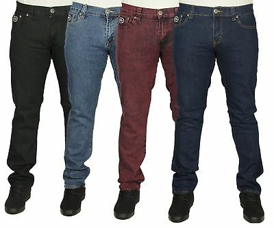 Mens Branded Slim Fit Jeans Plain Black Blue Red Stretch Material Pants All Size