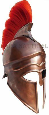 Brass Collectible Medieval Knight Armor Helmet Reproduction Helmet W/ Red Plume