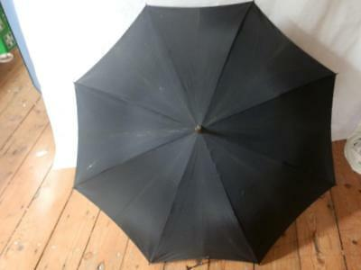 Vintage BRIGG Umbrella With Silver Engraved End And Leather Handle