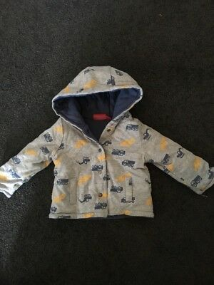 Sprout Baby Boys Puffer Hooded Jacket Trucks Diggers Size 00