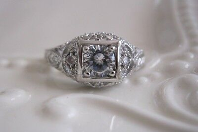 Vtg Estate Antique Art Deco Engagement Ring Absolute CZ Sz 6 Victorian Sterling