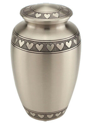 Large Classic Silver with Hearts Urn for Adult or Pet Ashes Cremains Memorial