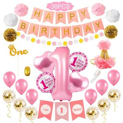 Happy First Birthday Balloons Set Boy Girl Favor Gift Party Decor Letter Banner
