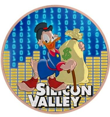 "2018 Nieu ""Scrooge McDuck Silicon Valley"" Colorized/24K Gold Gilded 1oz .999"
