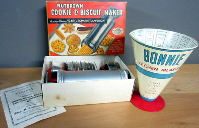 Vintage Retro Nutbrown Cookie & Biscuit Maker & Bonnie Kitchen Measure (rare)