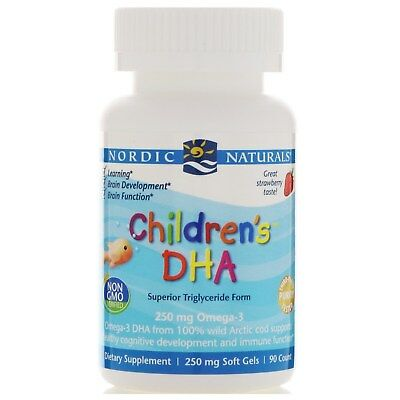 Nordic Naturals, Children's DHA, Strawberry, 250 mg, 90 Soft Gels