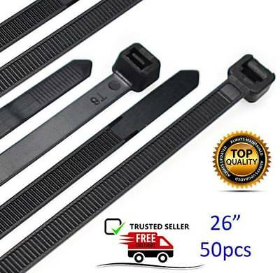 """Cable Zip Ties Heavy Duty 26"""", Strong Large Black Zip Ties with 200 lb Strength"""