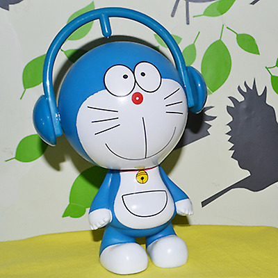 Doraemon money coin bank 17cm (6.7inch) doll toy decoration music earphone type