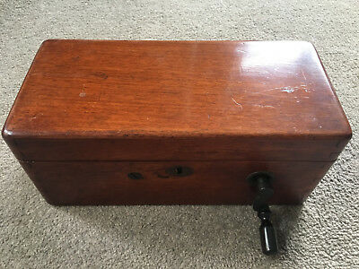 Antique Victorian Magneto Electric Shock Machine in Wooden Box 19th Century