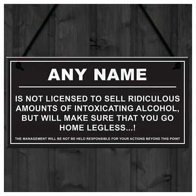 Personalised Man Cave Sign Home Shed Pub Bar Licensee Funny Alcohol License G JV
