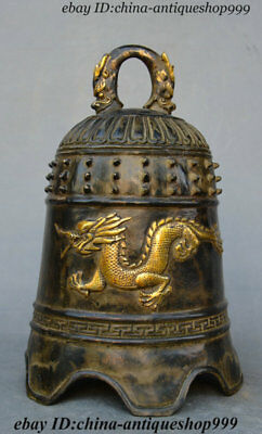 Chinese Bonze Gilt Beast Head Dragon Loong Emboss Copper bell clock kella Statue