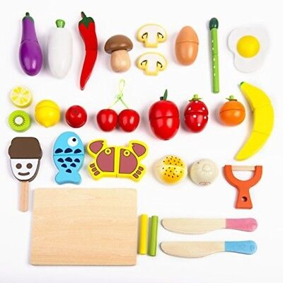 Play Food Set 32 Pcs Wooden Cutting Food Magnetic Fruits and Vegetables Kitchen