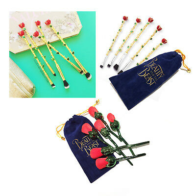 Beauty & The Beast Enchanted Roses Makeup Brushes Brush Set with Pouch