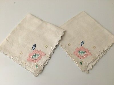 Set of 2 Antique Napkins / Doilies - Hand Embroidered