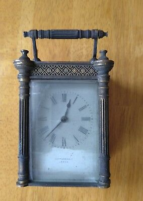 Vintage antique carriage clock by Cattaneo & Co Leeds spares or repair