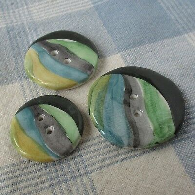 Set of 3 Hand Painted and Glazed Ceramic Sew-Thru Buttons