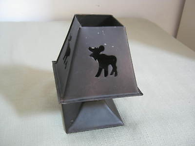 Vintage Metal Moose Candle Holder with Shade, Shabby Country Cottage Cabin Chic