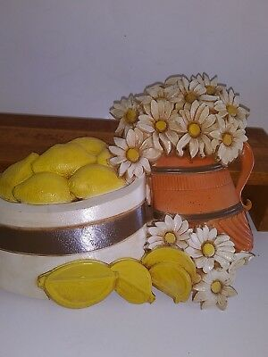 Retro Hard Plastic Lemon Flower Pot Wall Hanging 1970's Vtg USA Made