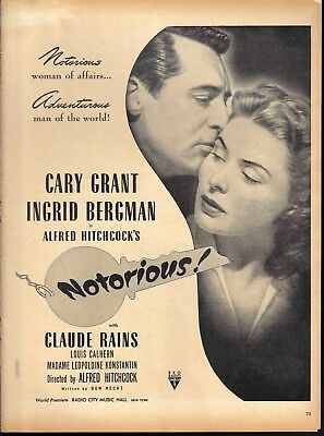 1946 Notorious Movie Ad Alfred Hitchcock Cary Grant Ingrid Bergman