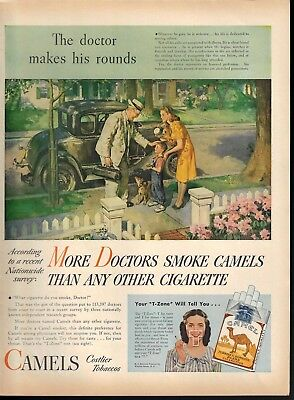1946 Doctor Makes His Rounds Camel Cigarettes Print Ad