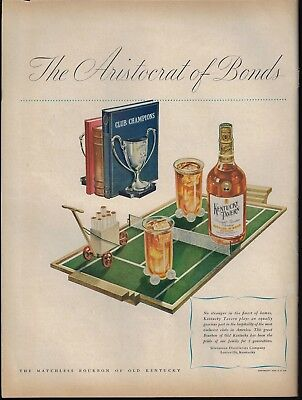1946 Unique Tennis Balls Bookends Court Serving Tray Glass Holder Whiskey Ad