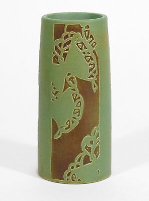 Overbeck Pottery Arts & Crafts carved vase matte brown green Art Deco butterfly