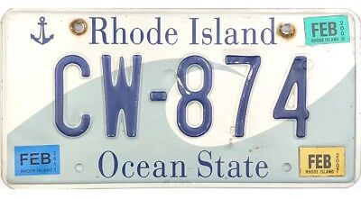 Rhode Island WAVE License Plate #CW-874 With Stickers Up To 2011