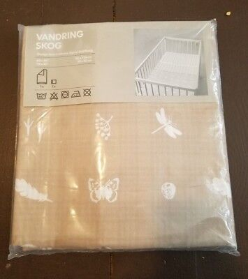 New Ikea Vandring Skog Crib Quilt Cover Pillowcase Bedding Set Nature Brown