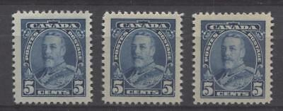 Canada #221 (SG#345)  5c Dark Blue King George V 3 Different Printings VF-80 NH