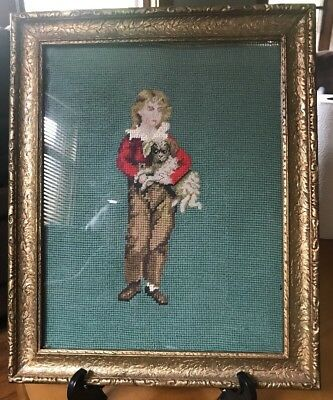 ANTIQUE FRAMED NEEDLEPOINT YOUNG BOY Clifford Royce HOLDING DOG (11x17).