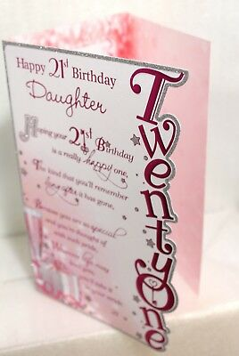 Happy 21st Daughter Birthday Card 3 FOLD CARD