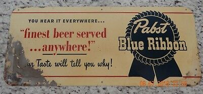 Pabst Blue Ribbon 1940's Vintage Metal Sign