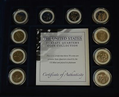 The Complete US USA Platinum Plated State Quarters Collection COA + Case