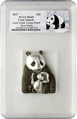 2017 $20 Cook Islands Lucky Panda 88g .999 Silver Coin PCGSMS69 First Strike