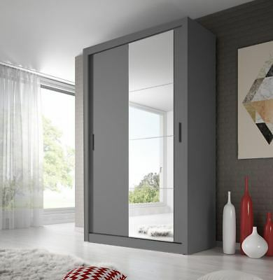 Brand New Modern Bedroom Mirror Sliding Door Wardrobe ARTI 6 120cm in Grey