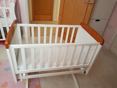 'Obaby B is for Bear' White and Pine gliding crib/cot in excellent condition