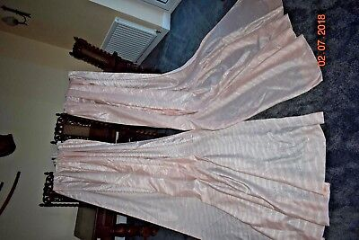 Old French Boudoir Curtain Pink Sateen Each 80 Ins Wide 96 Ins Long