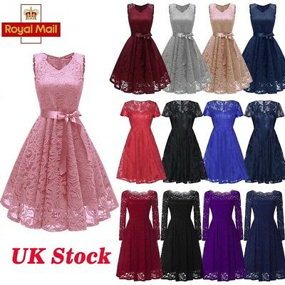 UK Women Wedding Party Formal A Line Skater Dress 50S Ladies Vintage Lace Dress