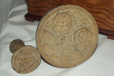 Antique TWO Sycamore Butter Mould - Butter Stamp Engraved with ROSES /BIRD treen