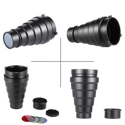 Conical Snoot Honeycomb Grid + 5pcs Filter for Bowens Mount Strobe Flash Light